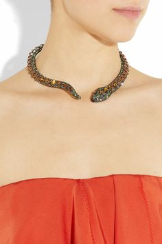 Kenneth Jay Lane Gunmetal-plated crystal snake necklace NET-A-PORTER.COM