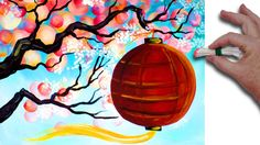 Q-tip  Cherry Blossom Branch with red lantern  Acrylic Painting