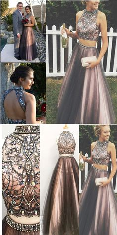c72dc9daf6ec New Arrival Black Pink 2 Pieces Ball Gown Prom Dresses,High Neck Beaded Two Pieces  Evening Gowns Prom Dress,Modest Cute Long Evening Dress