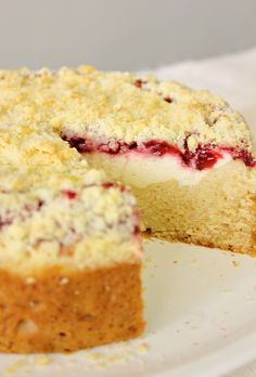 Strawberry Cream Cheese Coffee Cake (can use warmed jam for fruit layer to make it super simple)