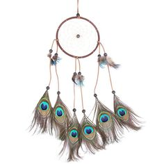 Handmade Circular Net Dream Catcher with peacock Feathers Car wall Hanging Decor Decoration Ornament Crafts Gift-in Wind Chimes & Hanging Decorations from Home & Garden on Aliexpress.com | Alibaba Group