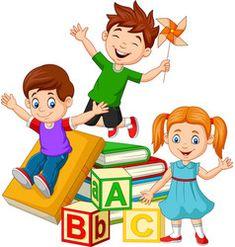 Happy school children with alphabet blocks vector Zebra Cartoon, Bus Cartoon, Cartoon Kids, Kids Reading Books, School Murals, Kids Background, Summer Camps For Kids, Kids Vector, Cute Love Pictures