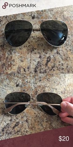 Aldo Aviator Sunglasses Black with tan tips for attachment. Small scratch on lens, but hardly visible and doesn't affect vision. Aldo Accessories Sunglasses