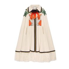 GUCCI EMBROIDERED WOOL CASHMERE CAPE. #gucci #cloth #