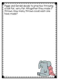 Math with Mo Willems Book Characters and a Writing Freebie Math Literacy, Math Classroom, Teaching Math, Math Activities, Teaching Ideas, First Grade Themes, 1st Grade Math, Grade 2, Math Numbers