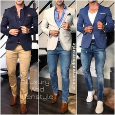 This chic men's outfit is for everyday business. You wear a blue denim shirt together with a fashionable Amaci&Sons jea. Blazer Outfits Men, Mens Fashion Blazer, Mens Fashion Wear, Stylish Mens Outfits, Suit Fashion, Formal Men Outfit, Moda Formal, Indian Men Fashion, Business Casual Outfits