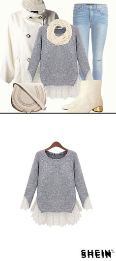 Grey Long Sleeve Contrast Lace Knit Sweater