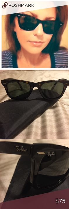 Ray-Ban WAYFARER Tortoise Shell Sunglasses 🕶 This is an authentic pair of Ray-Ban Wayfarer Sunnie's. These are style #2140 Tortoise Shell frame with green lenses. I no longer have the original case put do have a generic unbranded black soft case Included. No scratches on lenses the frames are in good used condition. Ray-Ban Accessories Sunglasses