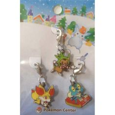 Pokemon Center 2013 Christmas Fennekin Froakie Chespin Set Of 3 Charms