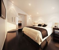 wooden flooring with brown color and room wall color is white and lighting gives so decent looks for bedroom