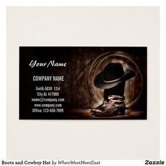 Shop rustic vintage cowboy boots western country business card created by WhenWestMeetEast. Art Business Cards, Business Card Design, Construction Business Cards, Vintage Country, Cowboy Boots, Cowboy Western, Vintage Roses, Rustic Design, Westerns