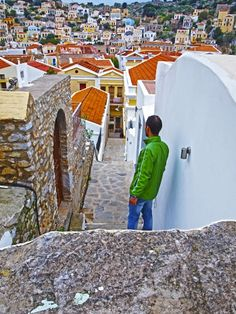 Some of the hundreds of steps that lead to alleys, Simi Town Greece Holiday, The Hundreds, Small Island, Salt And Water, Greek Islands, Amazing Places, Day Trips, The Good Place, Villa