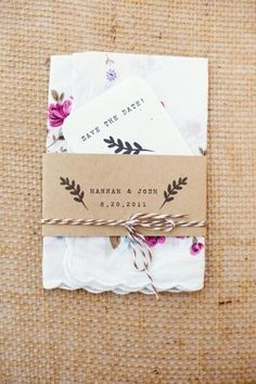 A vintage-eqsque hankerchief save the date - good idea for asking friends to be bridesmaids also