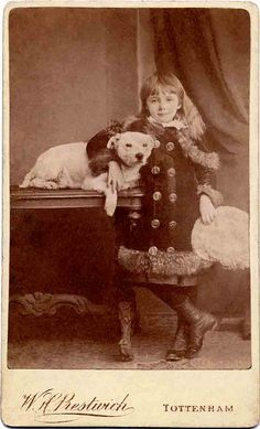 Antique photo of a little girl and her dog. Photo by W.H. Prestwick of Tottenham. From the Libby Hall Collection.