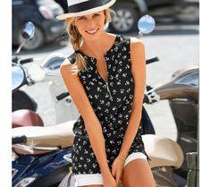 Blúzkový top s potlačou a výstrihom na zips Casual, Spring Summer, Dresses, Fashion, Tunic, Vestidos, Moda, Gowns, Fasion