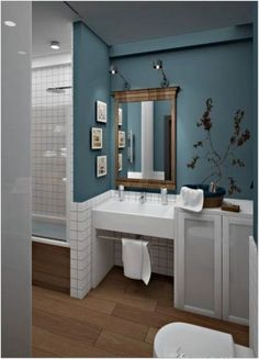 Bathroom Decor minimalist 48+ Proven Small Bathroom Decor Ideas With Blue Colors 15 - fancyhomedecors #bathroom#smallbathroom#bathroomdecor