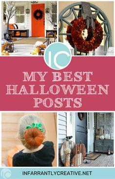 My Best Halloween Posts - Infarrantly Creative Halloween Post, Halloween Projects, Holidays Halloween, Halloween Decorations, Halloween Ideas, Spooky Decor, Knock Off Decor, Paper Crafts, Diy Crafts