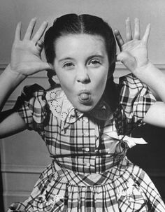Child star Margaret O'Brien makes a classic face, 1945. - What a great pic.