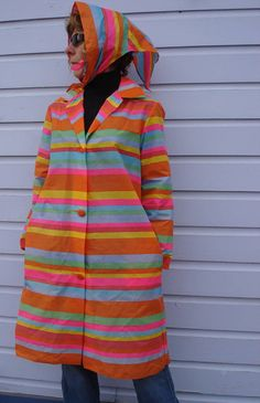 1960s Psychedelic Striped Raincoat by bycinbyhand on Etsy, $34.00