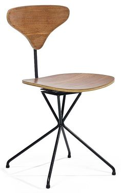 Luther Conover; Mahogany-Veneered Plywood and Enameled Metal Swivel Chair, c1960.