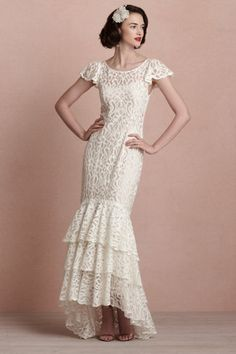 Vintage style wedding dress beautiful lace by BHLDN