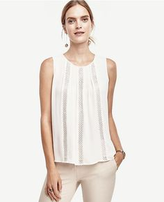 50cba2208782e Lacy Pleated Shell Ivory Lace Top