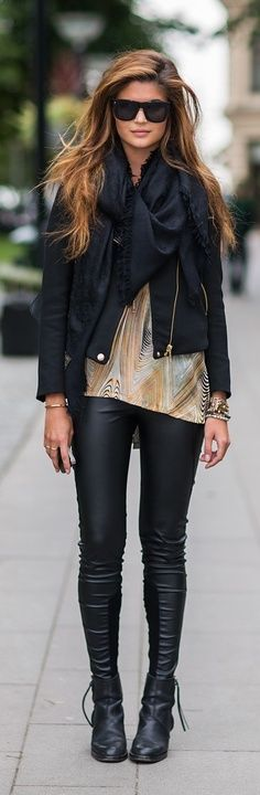 leather and layers. A chic way to soften a leather look.