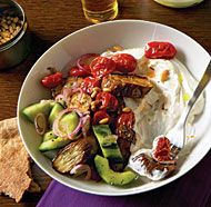 Roasted Eggplant and Tomatoes with Tangy Cucumbers and Yogurt - requires some work, but looks delicious