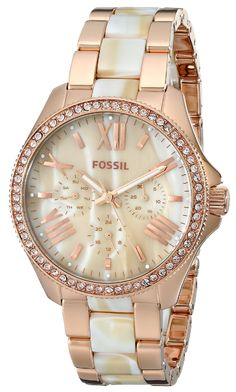 Fossil Women's AM4616 Cecile Three-Hand Stainless Steel Watch Rose with Horn Acetate -- More info could be found at the image url.