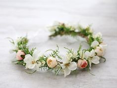 This beautiful faux flower crown is a lovely accessory, perfect for a party or wedding. View my shop: http://www.etsy.com/shop/lolawhiteshop FACEBOOK: https://www.facebook.com/LolaWhite.dsgn n.7062