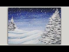 Acrylic Painting - Winter Pines - Landscape Painting -  #LoveWinterArt