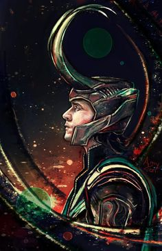 "Tom Hiddleston ""Loki"" ""Thor"" Fan Art From http://amyzen.tumblr.com/post/92448434355/loki-in-color-palette-1-requested-by-catamantics"
