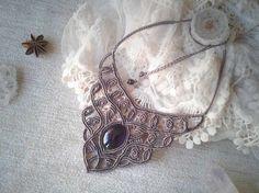 Macrame necklace Goddess with amethyst by WabiSabiMacrameArt