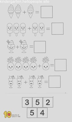 Math for Kindergarten- Simple Addition - Modern Design Preschool Writing, Numbers Preschool, Preschool Learning Activities, Math Addition, Simple Addition, Addition Games, Kindergarten Math Worksheets, Math Math, Math For Kids
