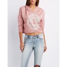 Charlotte Russe Elephant Graphic Cropped Hoodie ($9.99) ❤ liked on Polyvore featuring tops, pale mauve, long sleeve tops, charlotte russe, elephant top, graphic crop tops and cut-out crop tops
