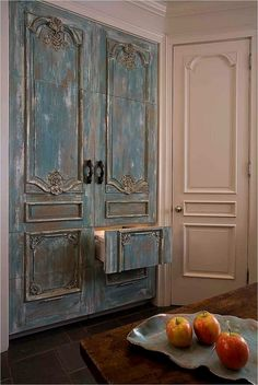 This is a refrigerator! Gorgeous Antique Doors converted to Refrigerator Doors. Antique Doors, Vintage Doors, Antique Armoire, Hiding Places, Beautiful Kitchens, Kitsch, My Dream Home, Painted Furniture, Painted Armoire