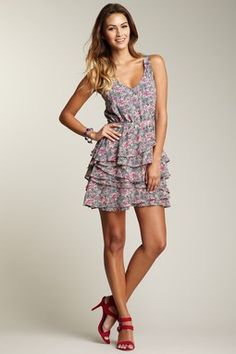 Patterson J. Kincaid Gardenia Ruffle Dress