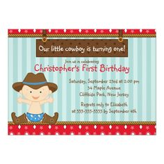 Cowboy Birthday Party Invitations Cute Little Cowboy Birthday Party Invitations