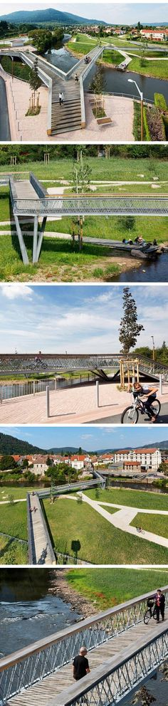 Bridge on the Meurthe River, France by Atelier Cité Architecture. Park Landscape, Landscape Plans, Urban Landscape, Landscape Design, Green Architecture, Landscape Architecture, Architecture Design, Wetland Park, Public Space Design