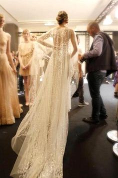 """fashioninsomniaaftercc: """" Elie Saab - backstage shots at the Haute Couture Fall Winter 2011 2012 fashion show… """" 1920s Style Wedding Dresses, Bridal Style, Wedding Styles, Wedding Photos, Elie Saab, Bridal Gowns, Wedding Gowns, Wedding Cape Veil, Bridal Cape"""