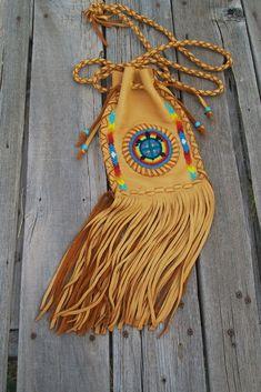 Fringed leather bag , Rainbow beaded turtle totem , Hippie handbag by thunderrose - pinned by pin4etsy.com
