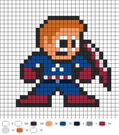 Captain America (Avengers) Perler Bead Pattern