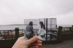 """These photos show Pike Place Market, """"then and now."""" The older photographs were taken in the 70's by photographer Stephen Cysewski. March 13th 2013. (Joshua Lewis / KOMO News)"""