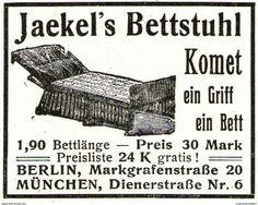 Original-Werbung/ Anzeige 1913 - JAEKEL'S BETTSTUHL KOMET / BERLIN - MÜNCHEN - Ca. 45 X 30 Mm - Werbung