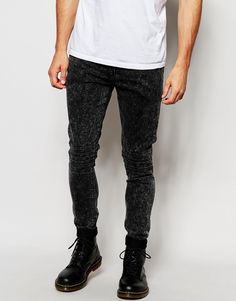 """Super skinny jeans by ASOS Power stretch denim for comfort and fit Reinforced seams for added strength Quality cotton twill pocket bags Hanger loop to centre back Five pocket styling Zip fly Panel detail to knees Super skinny fit - cut closest to the body Machine wash 73% Cotton, 25% Polyester, 2% Elastane Our model wears a 32""""/81 cm regular and is 185.5cm/6'1"""" tall"""