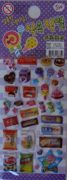 Kawaii 3D Snacks Sticker Sheet