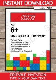 Lego Party Invitations | Birthday Party | Editable DIY Theme Template | INSTANT DOWNLOAD $7.50 via SIMONEmadeit.com