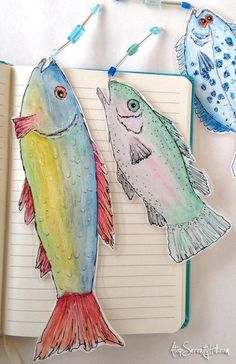 Watercolor and doodled fish bookmarks with beaded lures; Watercolor Bookmarks, Watercolor Fish, Watercolor And Ink, Watercolor Paintings, Paper Art, Paper Crafts, Diy Bookmarks, Book Markers, Fish Art