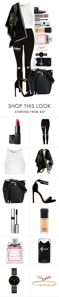 """Untitled #1623"" by fabianarveloc on Polyvore featuring NARS Cosmetics, Topshop, Glamorous, Alexander McQueen, Michael Kors, By Terry, MAC Cosmetics, Christian Dior, Kate Spade and Myku"