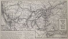 1929 Antique ATCHISON Topeka SANTA FE RAILROAD Map Vintage RAILWAY Map 3384